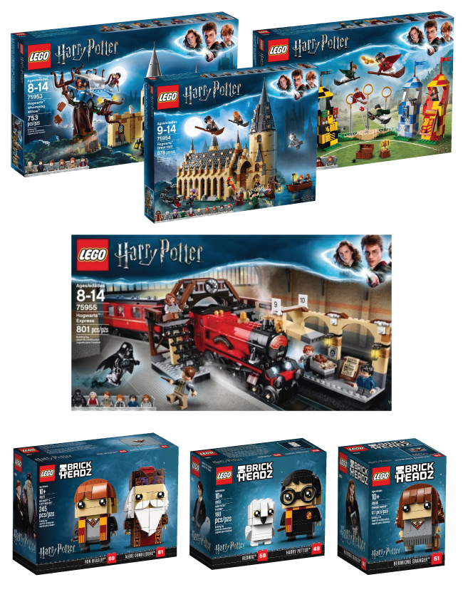 Seven LEGO Harry Potter sets are show in their packaging