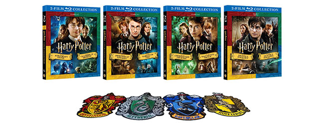 Four Harry Potter DVD boxes are shown with four patches