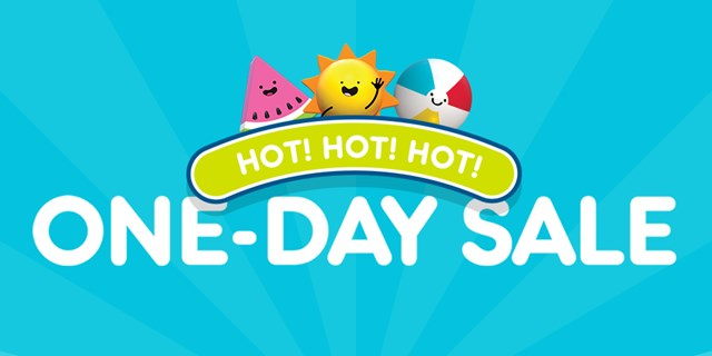 "Watermelon, sun and beach ball characters smile on top of the words ""Hot! Hot! Hot! One-day sale"""