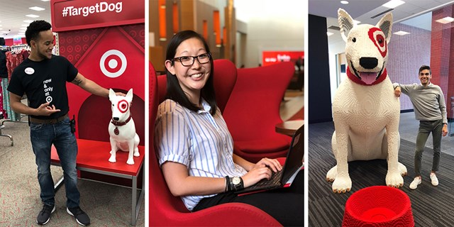 Three of Target's summer interns in their workspaces