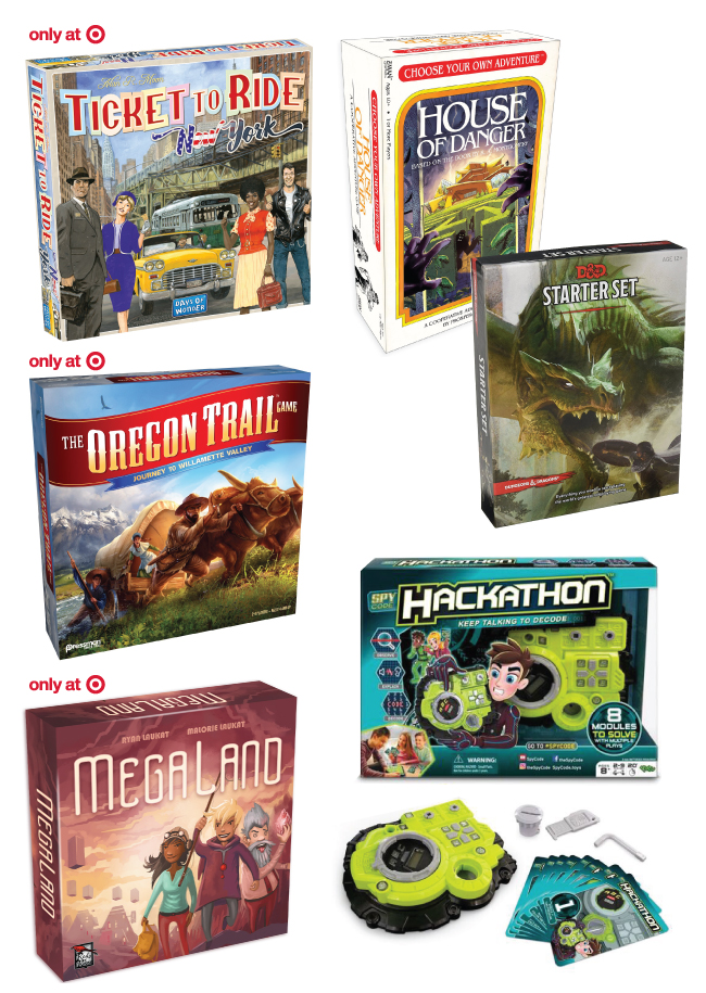 Collage of seven board games including Ticket to Ride, House of Danger, Oregon Trail, Dungeons & Dragons, MegaLand and Hackathon