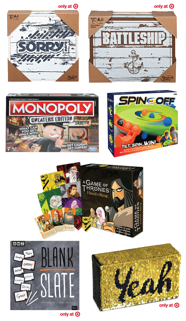Collage of seven board games including Sorry, Battleship, Cheater Monopoly, Spin Off, A Game of Thrones, Blank Slate and Yeah No