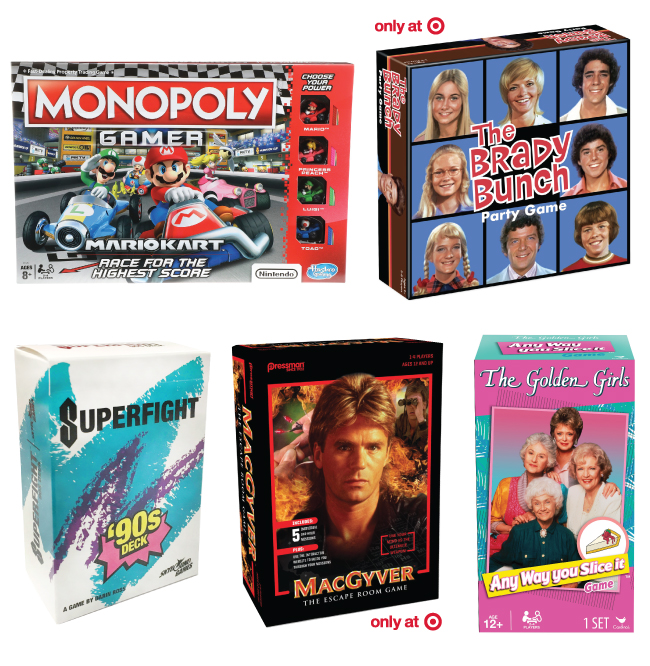 Collage of five board game boxes, including Brady Bunch, Mario Monopoly, Superfight, MacGyver and Golden girls