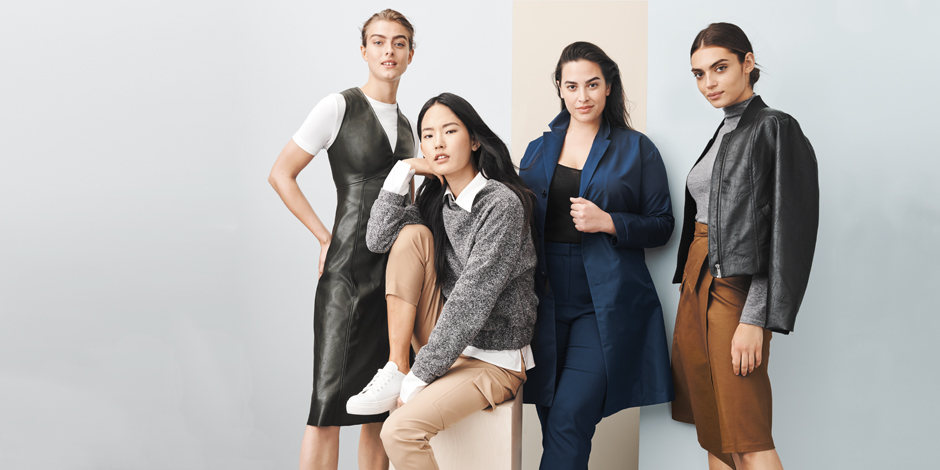 Four models wearing looks from the Prologue brand