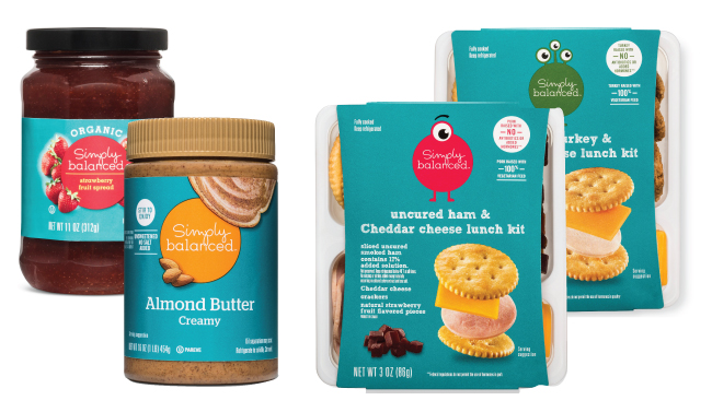 Simply Balanced fruit spread, almond butter and two lunch kits