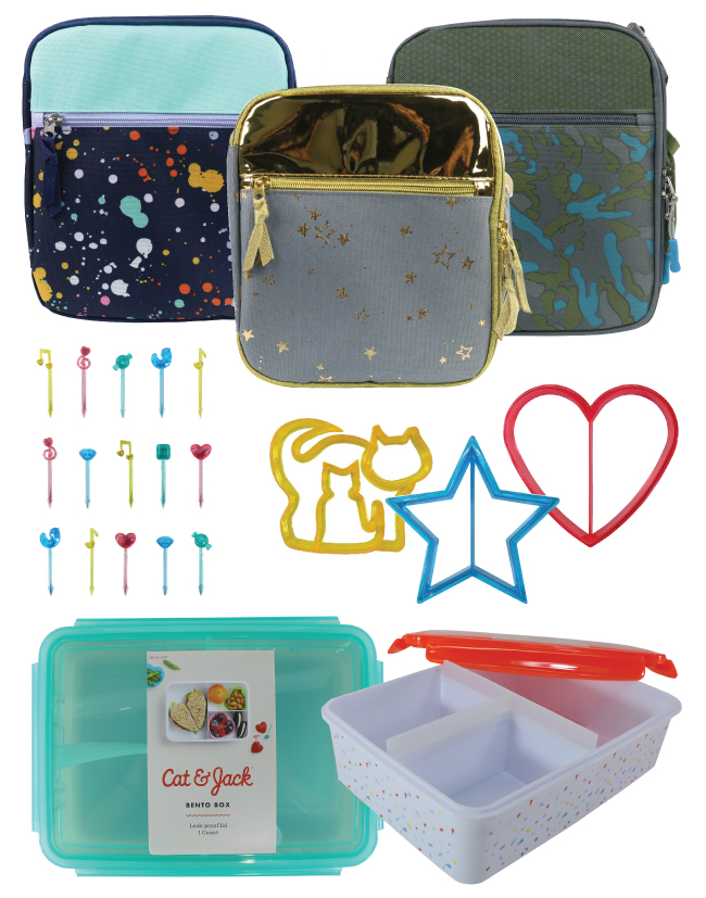 A variety of lunch bags, sandwich cutters, bento boxes and food picks