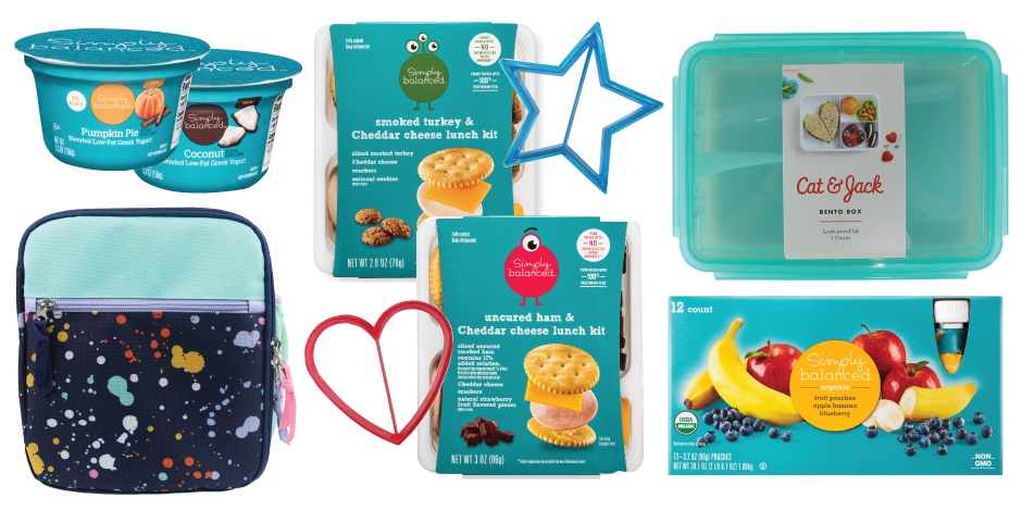 Photo collage including lunch bag, Simply Balanced yogurt, lunch kits and fruit pouches, a bento box