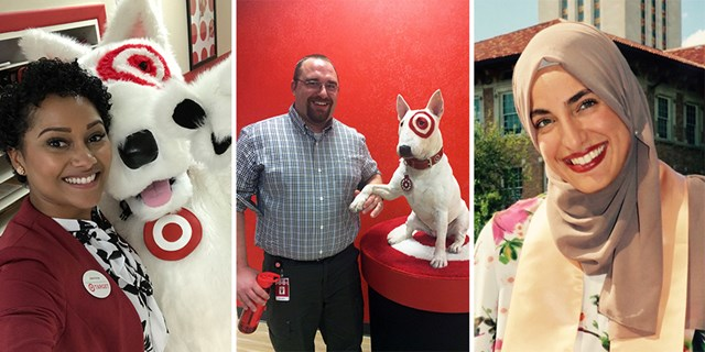 Jasmine snaps a selfie with Bullseye; Zach holds Bullseye's paw; Maysa stands in front of a building