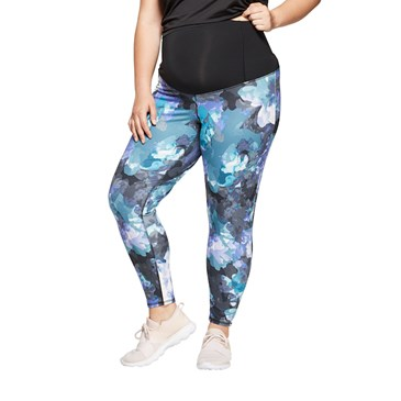 Plus Size Floral Print Active Leggings with Crossover Panel