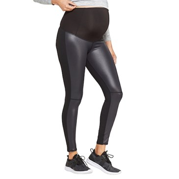 Faux Front Leather Active Leggings with Crossover Panel