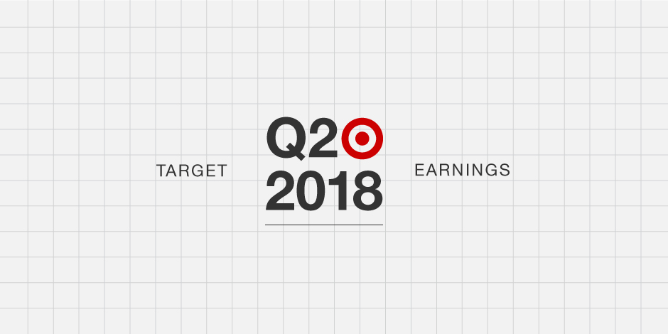 Text: 'Target Q2 2018 Earnings' and bullseye logo against a grey background with gridlines