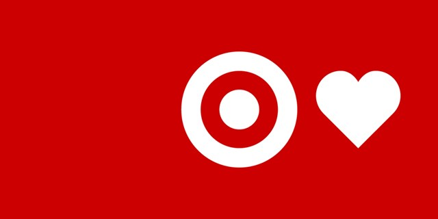 The Target bullseye logo and a heart icon in white text on a red background