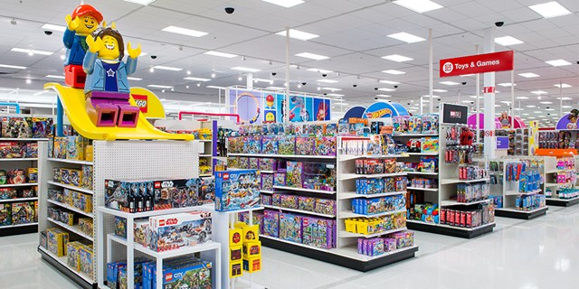 The toys aisles at a remodeled Target store