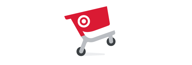 A red cart graphic with a white Target bullseye