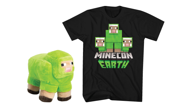 A plush Minecraft character and t-shirt
