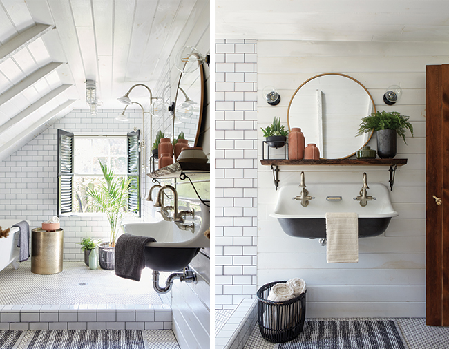 Two photos of a white bathroom decorated with Project 62 items