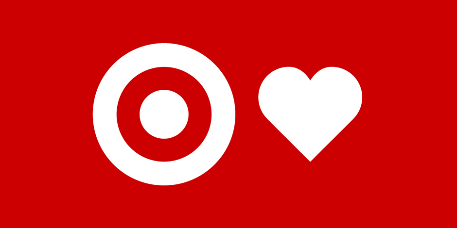 A white bullseye logo and a heart against a red background