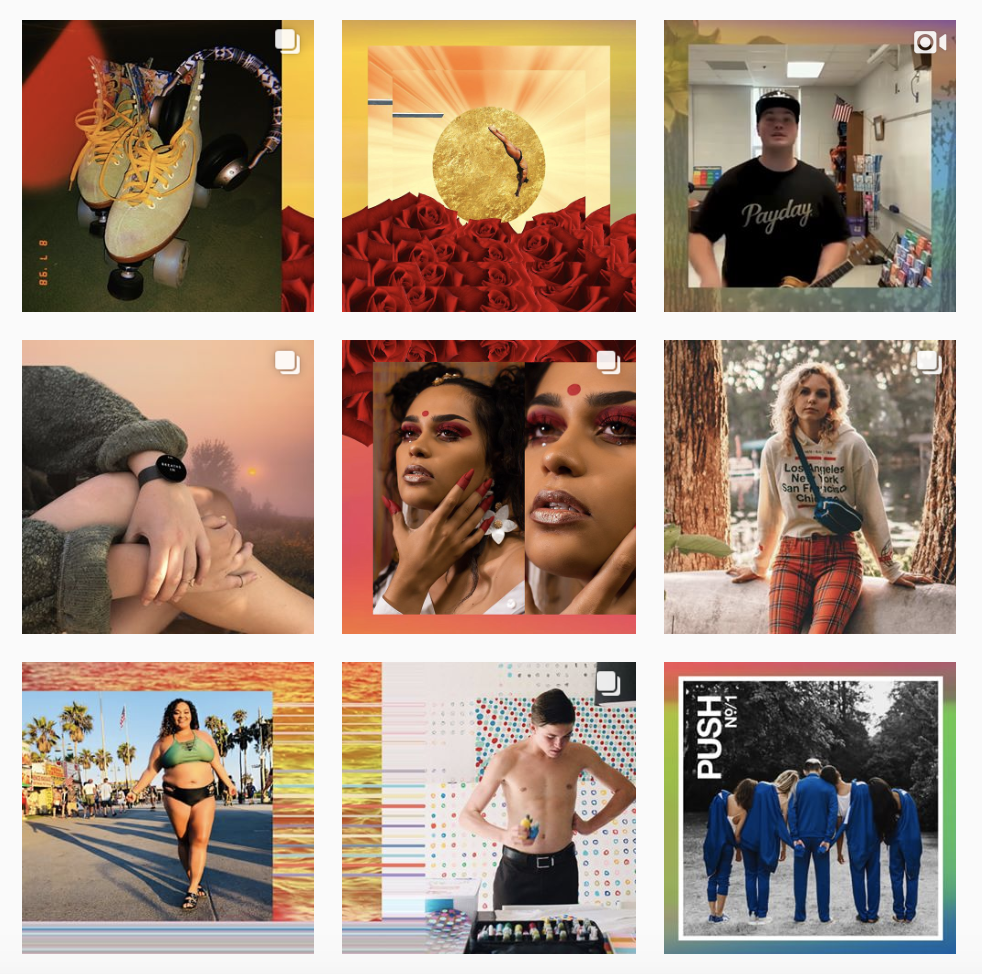 A grid of nine Instagram images, from roller skates to young people
