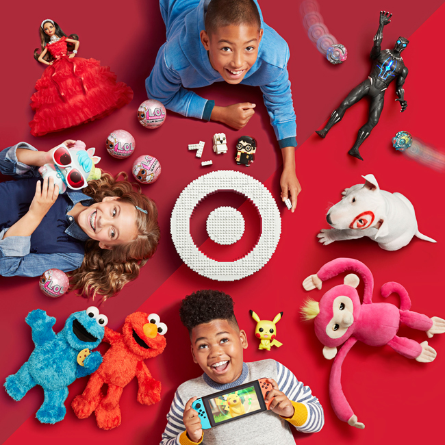 Kids and a whole bunch of toys circle around a white Lego bullseye on the cover of Target's Kids' Gifting catalog