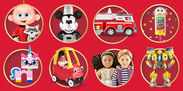 Eight gold circles surround fun toys and characters, from Mickey Mouse to Transformers.