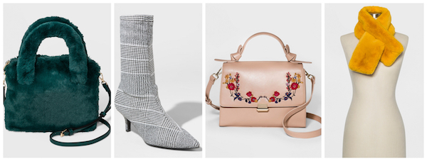 Two handbags, a pair of boots and a faux-fur scarf from the brand
