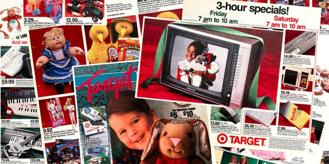 A collage of Target Black Friday ads from the 1980s and 1990s