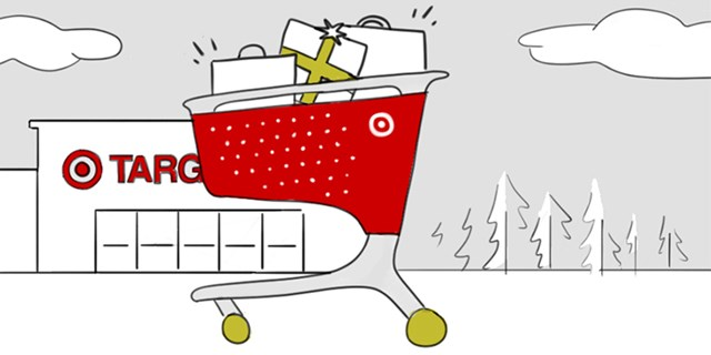 An illustration of a Target cart filled with gifts in front of a Target store