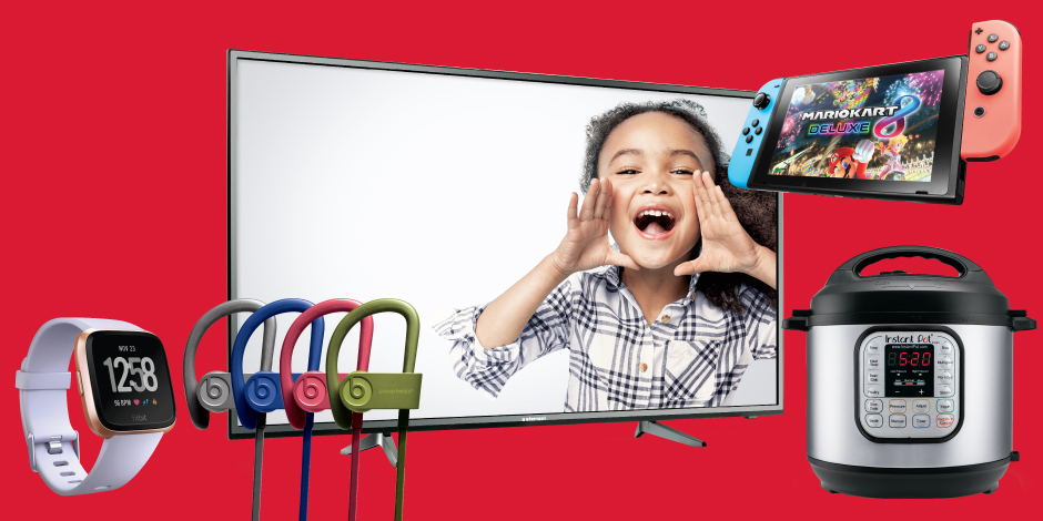 A little girl appears to shout excitedly from a TV screen, surrounded by Black Friday deals