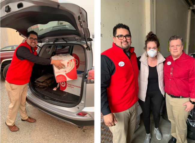 Team members load donations into a car