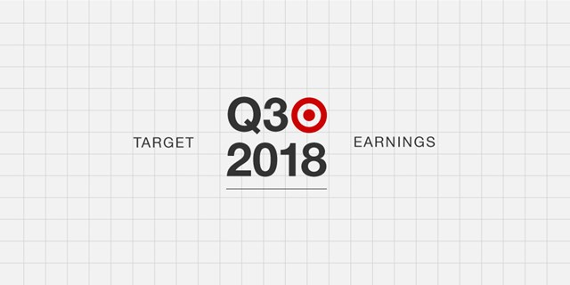 Black text reads Target Q3 2018 Earnings next to a red logo against a gray background with gridlines