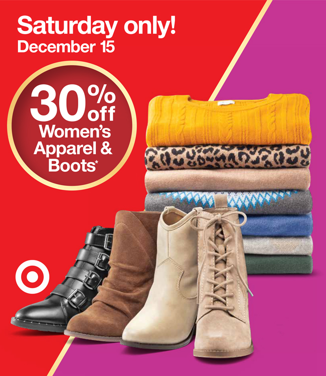A stack of women's sweaters and four boots along with promotion language