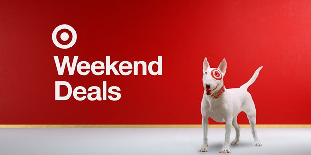 "Bullseye the dog against a red background featuring the words ""Weekend Deals."""