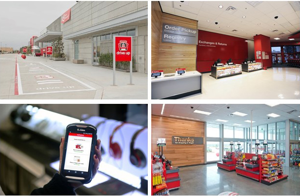 Four photos of our Drive Up and Order Pickup services, a handheld device and our self checkout lanes