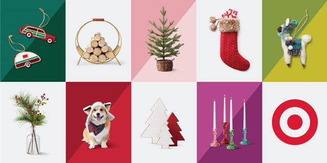 A grid of festive images, from colorful candles and a llama ornament to greenery and more.