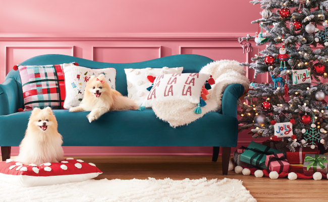 Two small dogs lounge in a colorful scene, including blue couch with festive throw pillows, a decorated tree and rug.