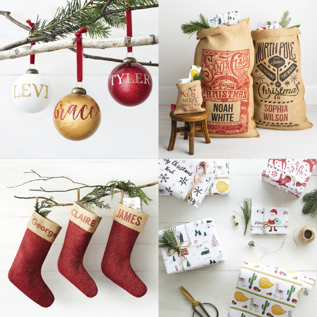 A four-image collage featuring personalized ornaments, gift sacks, stockings and wrapping paper