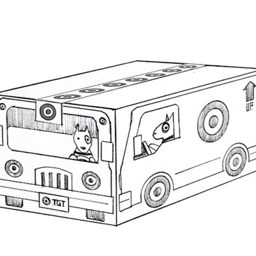 A concept sketch of a shipping box