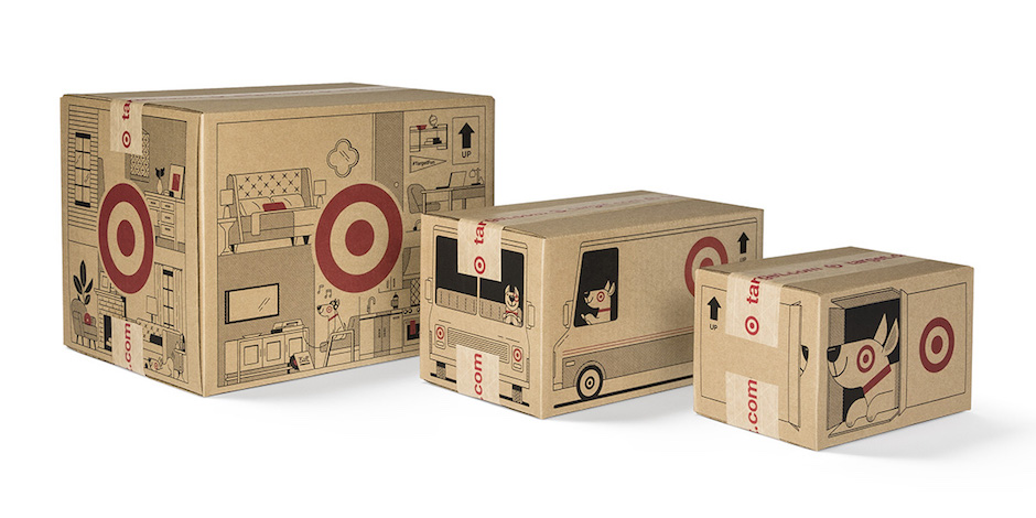 Three of the new shipping boxes featuring Bullseye the dog and other illustrations