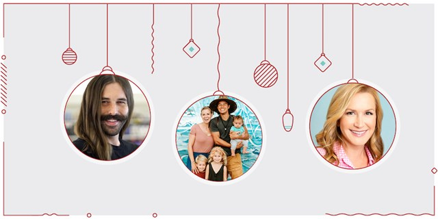 Jonathan Van Ness, The Bucket List Family, and Angela Kinsey's photos in ornament circles