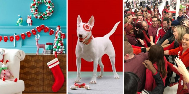 A festively decorated room, Bullseye the dog with a treat, a Target team rallies in their store
