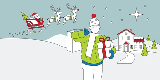 An illustration of a guest holding gifts in front of his home while Santa and reindeer fly overhead