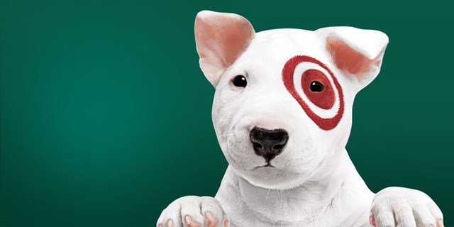 Target's puppy mascot, Bullseye, a white bull terrier with red bullseye, against a green background