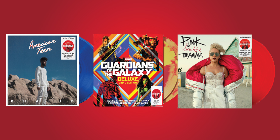 Three vinyl album covers, including Khalid, Guardians of the Galaxy, and Pink