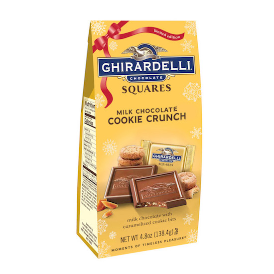 A gold package of Ghiradelli chocolate squares