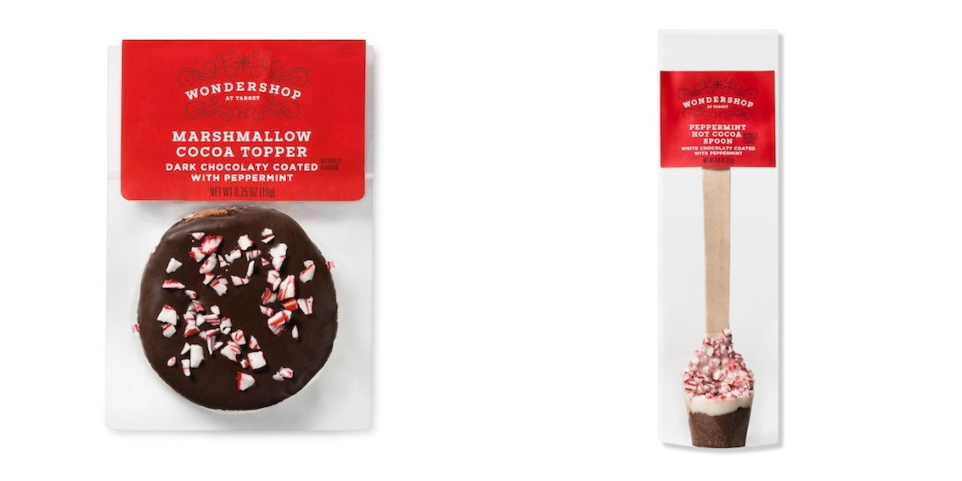 The Marshmallow cocoa topper and spoon in their festive packages