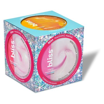 A light blue cube-shaped package of mask sachets with pink and yellow circles on each face