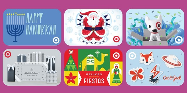 A variety of Target GiftCards are shown against a purple background