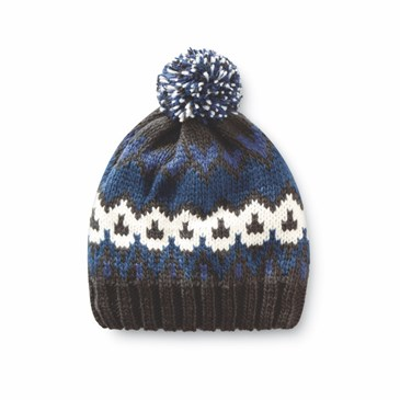 A black, white and blue beanie with a pom on top