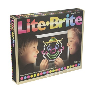 A colorful Lite Bright game box