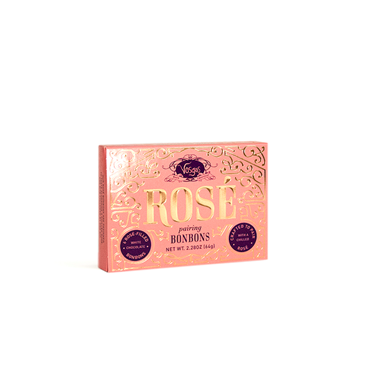 A rose gold metallic candy package